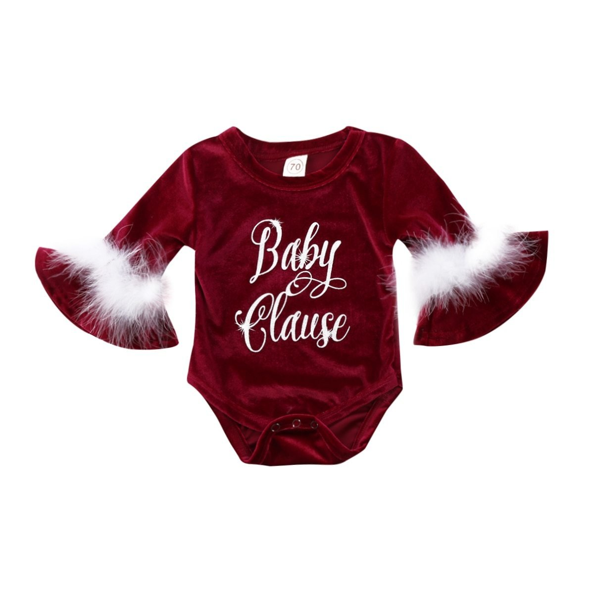Christmas Baby Girl Pleuche Romper - Baby Clause - Maraya's Marketplace