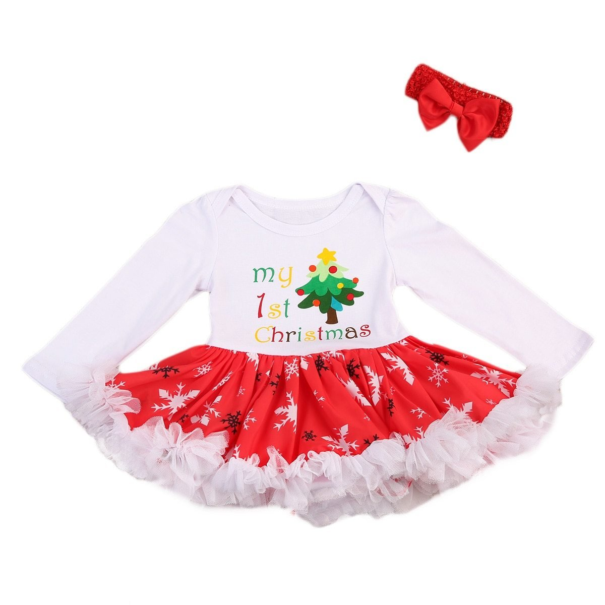 Christmas Baby Romper Dress with Headband - My 1st Christmas - Maraya's Marketplace