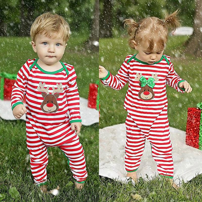 Christmas Baby Striped Romper - Maraya's Marketplace