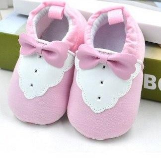 Cute Baby Shoes - White/Pink Bow Tie - Maraya's Marketplace