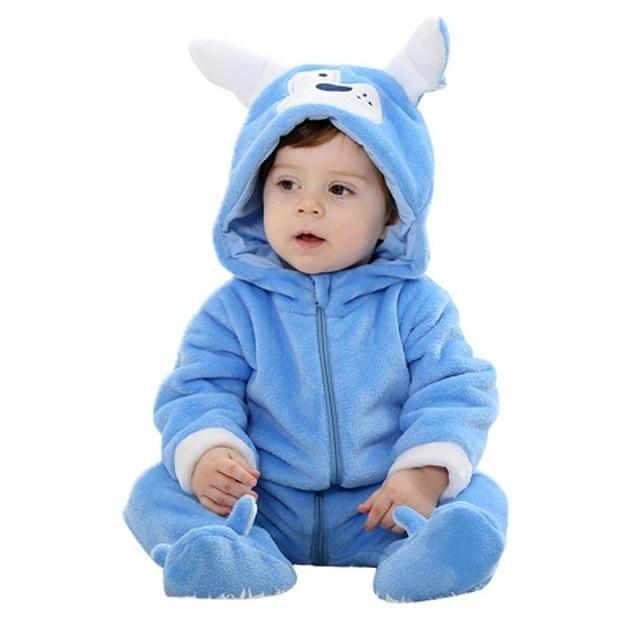 Funny Dark Blue Dog Baby Hooded Jumpsuit - Maraya's Marketplace