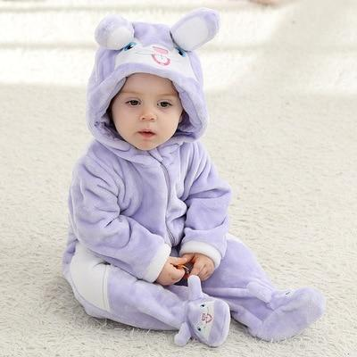 Funny Purple Rabbit Baby Hooded Jumpsuit - Maraya's Marketplace
