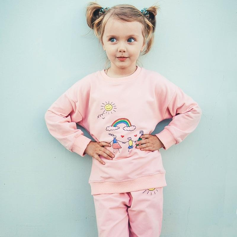Girls' 2Pcs Pink(Blue) Set - Sweatshirt and Pants - Maraya's Marketplace
