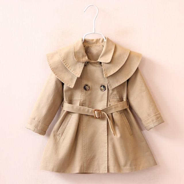 Girls' Khaki Autumn/Spring Trench Coat - Maraya's Marketplace