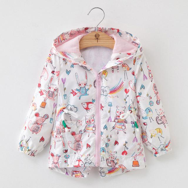 Girls' Multicolor Autumn/Spring Windbreaker Hooded Jacket - Maraya's Marketplace