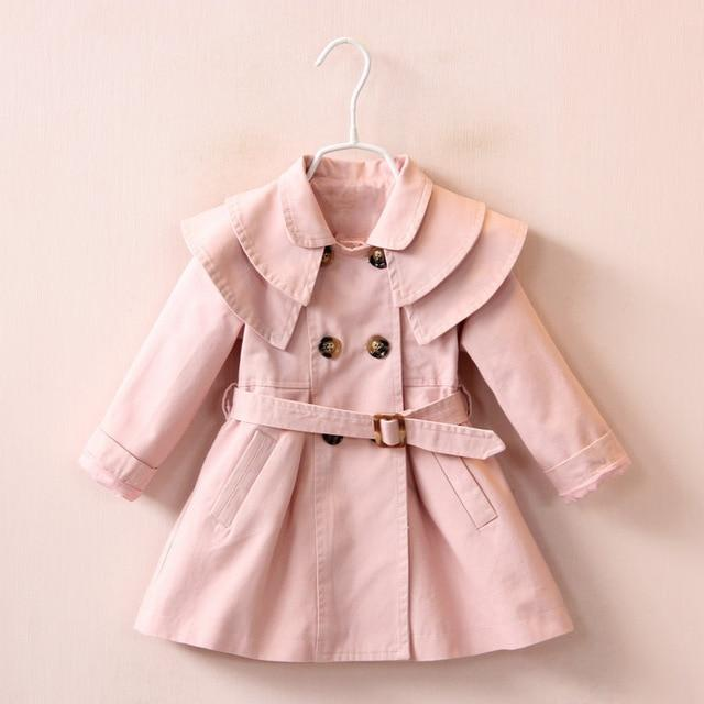 Girls' Pink Autumn/Spring Trench Coat - Maraya's Marketplace