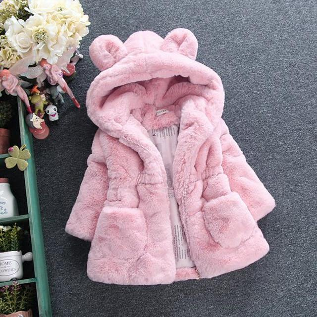 Girls' Pink Fluffy Autumn/Winter Hooded Coat - Maraya's Marketplace