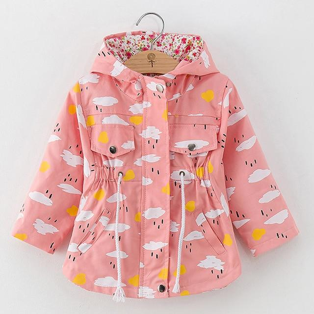 Girls' Pink w/ Clouds Autumn/Spring Windbreaker Hooded Jacket - Maraya's Marketplace