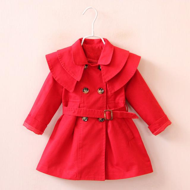 Girls' Red Autumn/Spring Trench Coat - Maraya's Marketplace