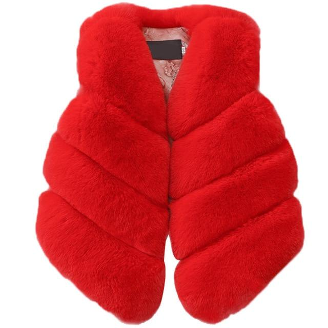 Girls' Red Fluffy Autumn/Winter Vest - Maraya's Marketplace