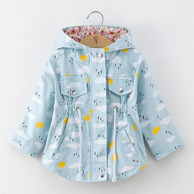 Girls' Sky Blue w/ Clouds Autumn/Spring Windbreaker Hooded Jacket - Maraya's Marketplace