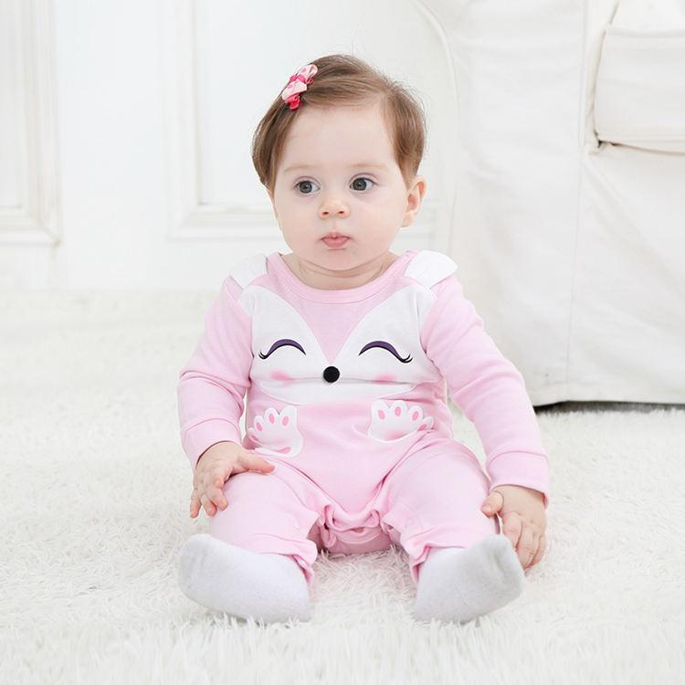 Pink Fox Baby Cotton Romper - Maraya's Marketplace