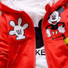 Unisex 3Pcs Red Set Mickey - Hoodie, Long Sleeves Shirt, Pants - Maraya's Marketplace