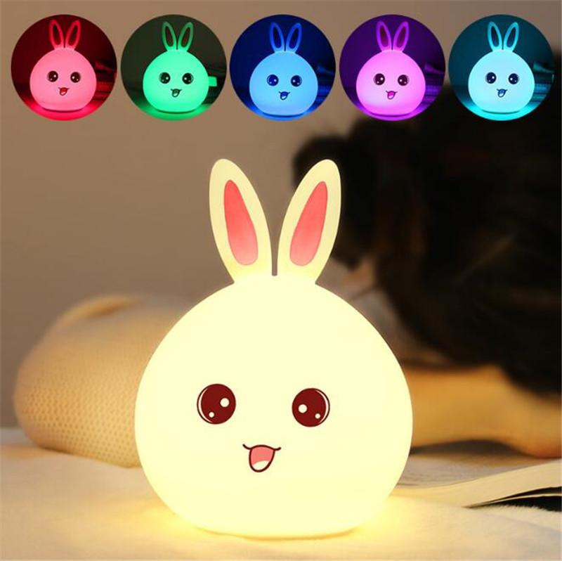 Rainbow Wireless Silicone Childproof Rabbit LED Night Lamp w/ Tap Switch - Maraya's Marketplace