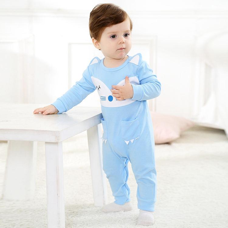 Sky Blue Fox Baby Cotton Romper - Maraya's Marketplace