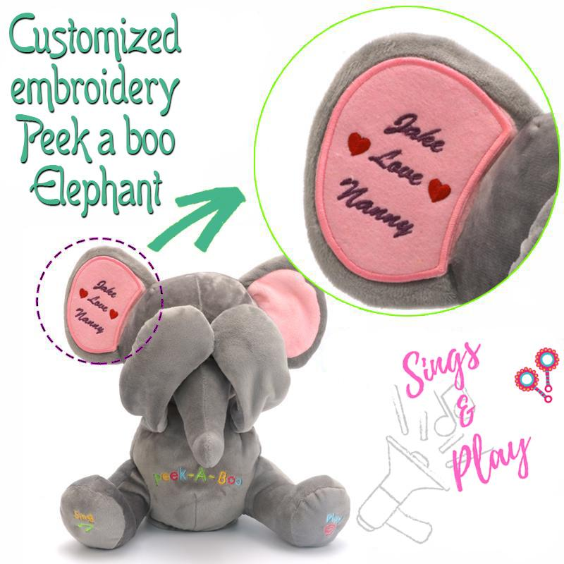 Unique Embroidery Personalized Peek A Boo Elephant Music Play Toy - Maraya's Marketplace