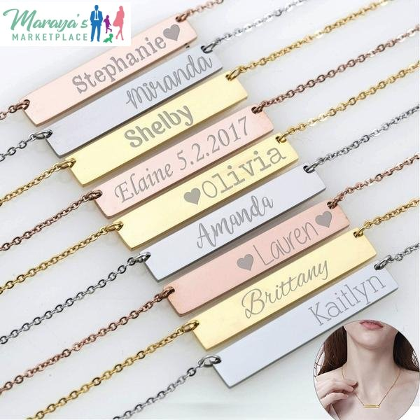 Unique Engraved Stainless Steel Personalized Necklace - Buy Two, Get One Free - Maraya's Marketplace