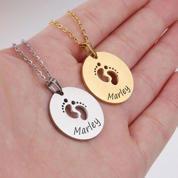 Unique Round Stainless Steel Personalized Baby Feet Necklace - Maraya's Marketplace