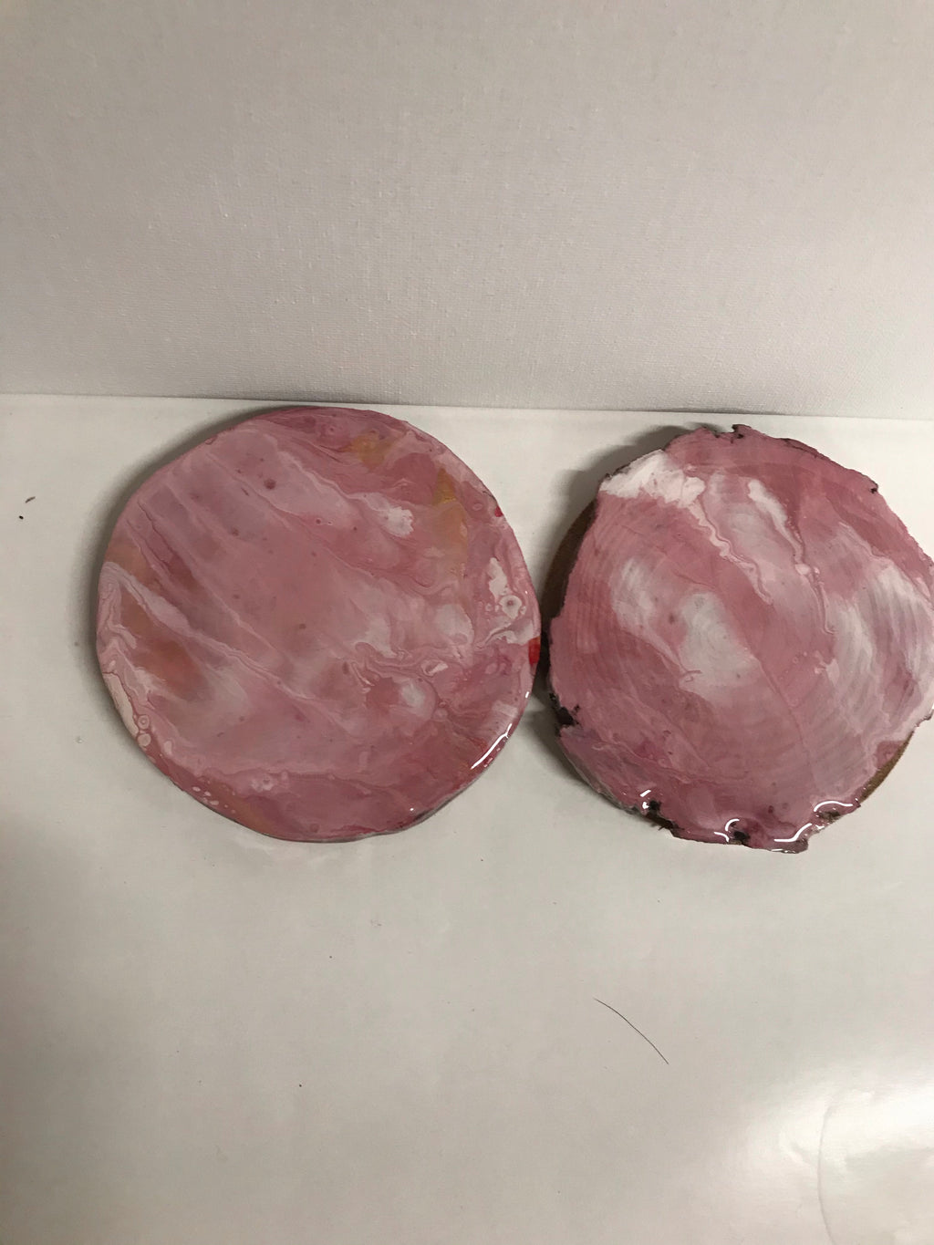 Light pink coasters set of 2