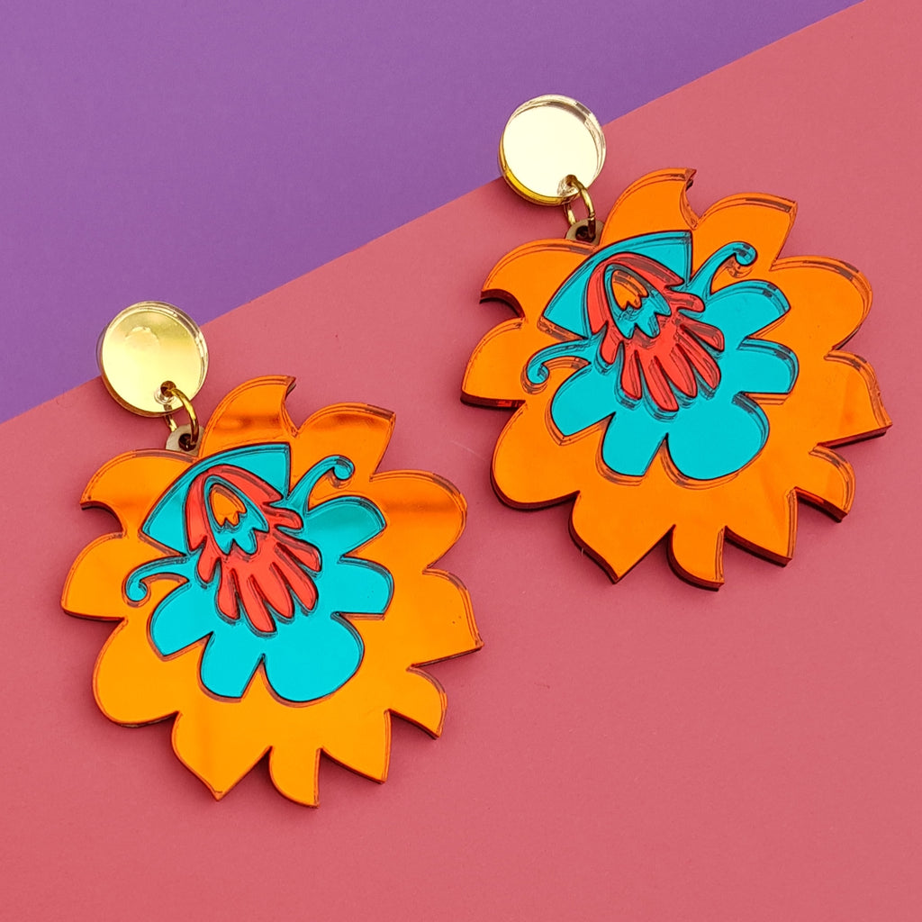 Laser cut perspex flower earring