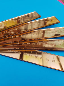Laser cut gold perspex 30cm ruler