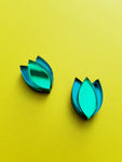 Dahlia Stud Earrings (green/teal)