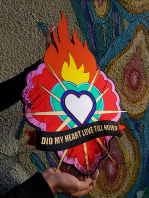 Flaming Heart Laser Cut Sign