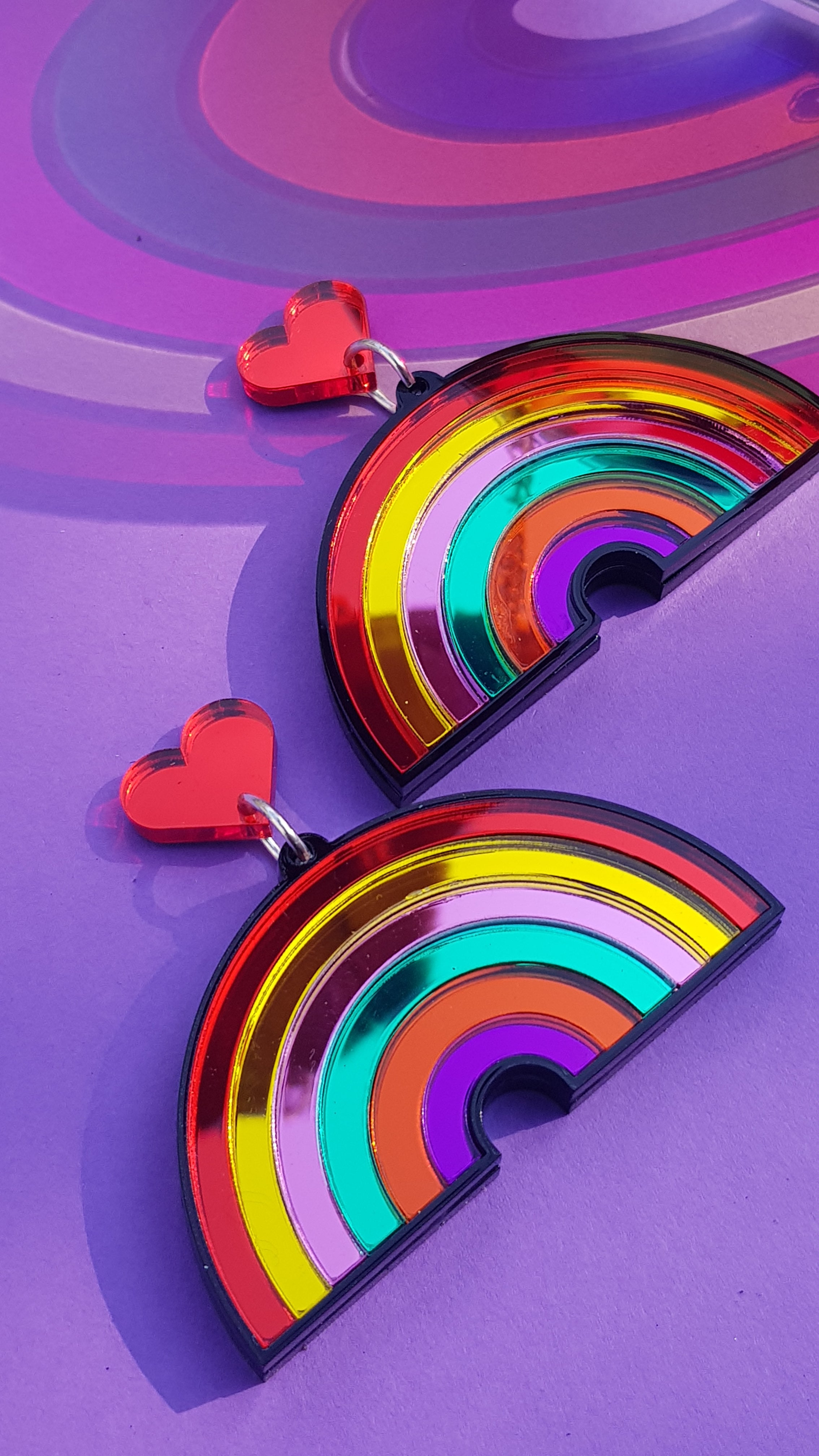 Mirror perspex rainbow earrings