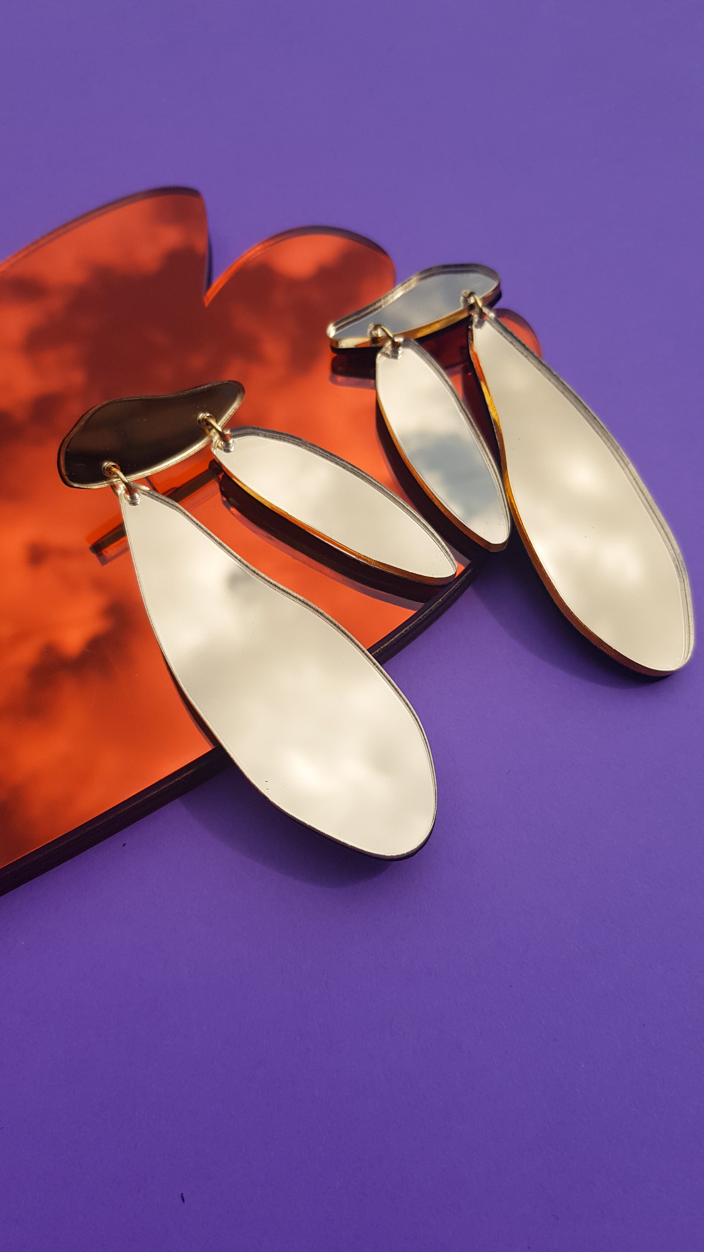 Mirror gold Matisse ply and perspex earrings