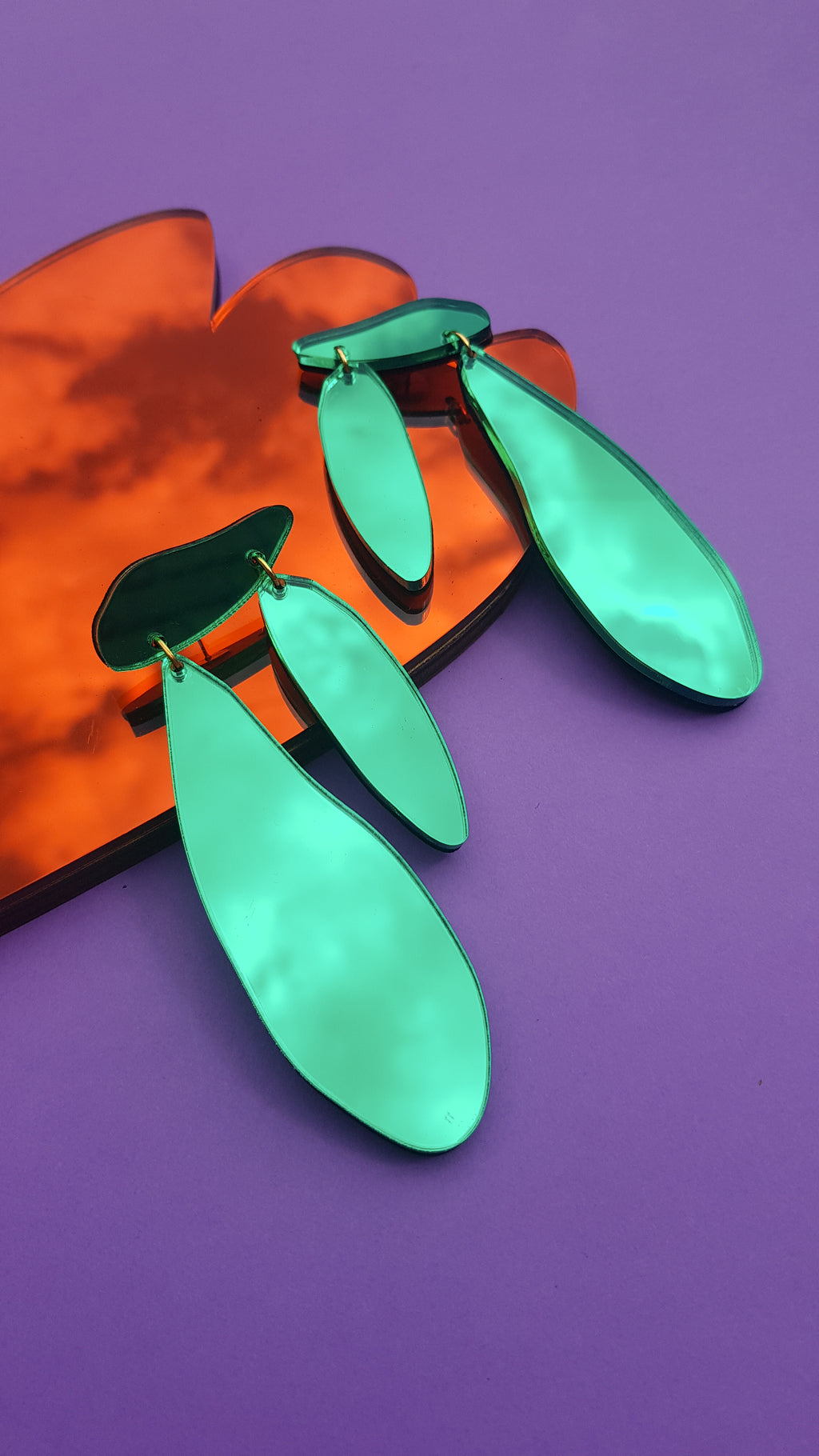 Bright green matisse ply and perspex earrings