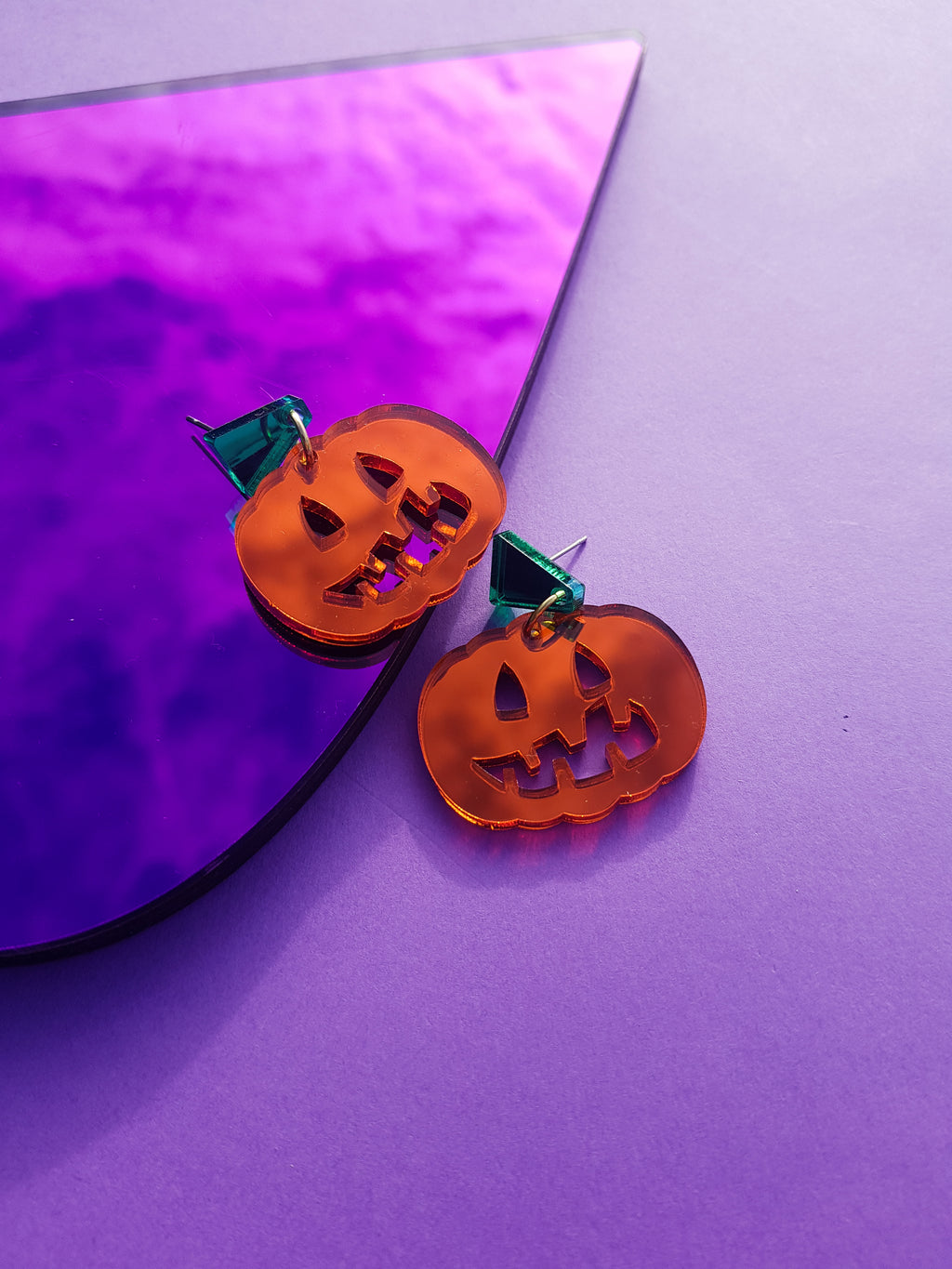 Mini pumpkin earrings, mirror orange