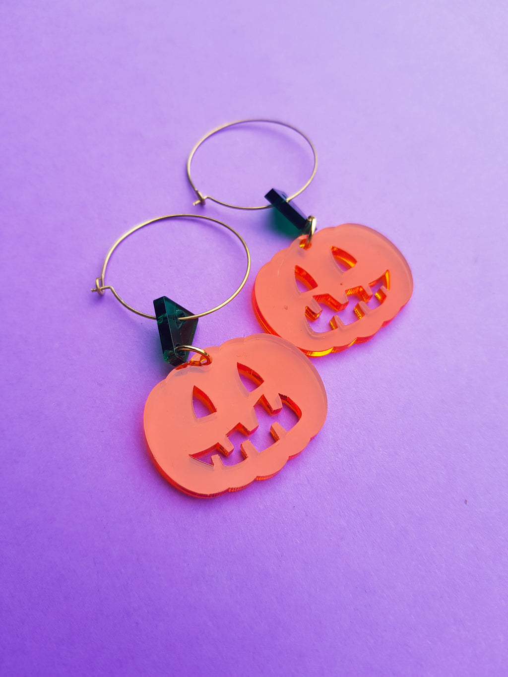 Mini pumpkin earrings, transparent orange