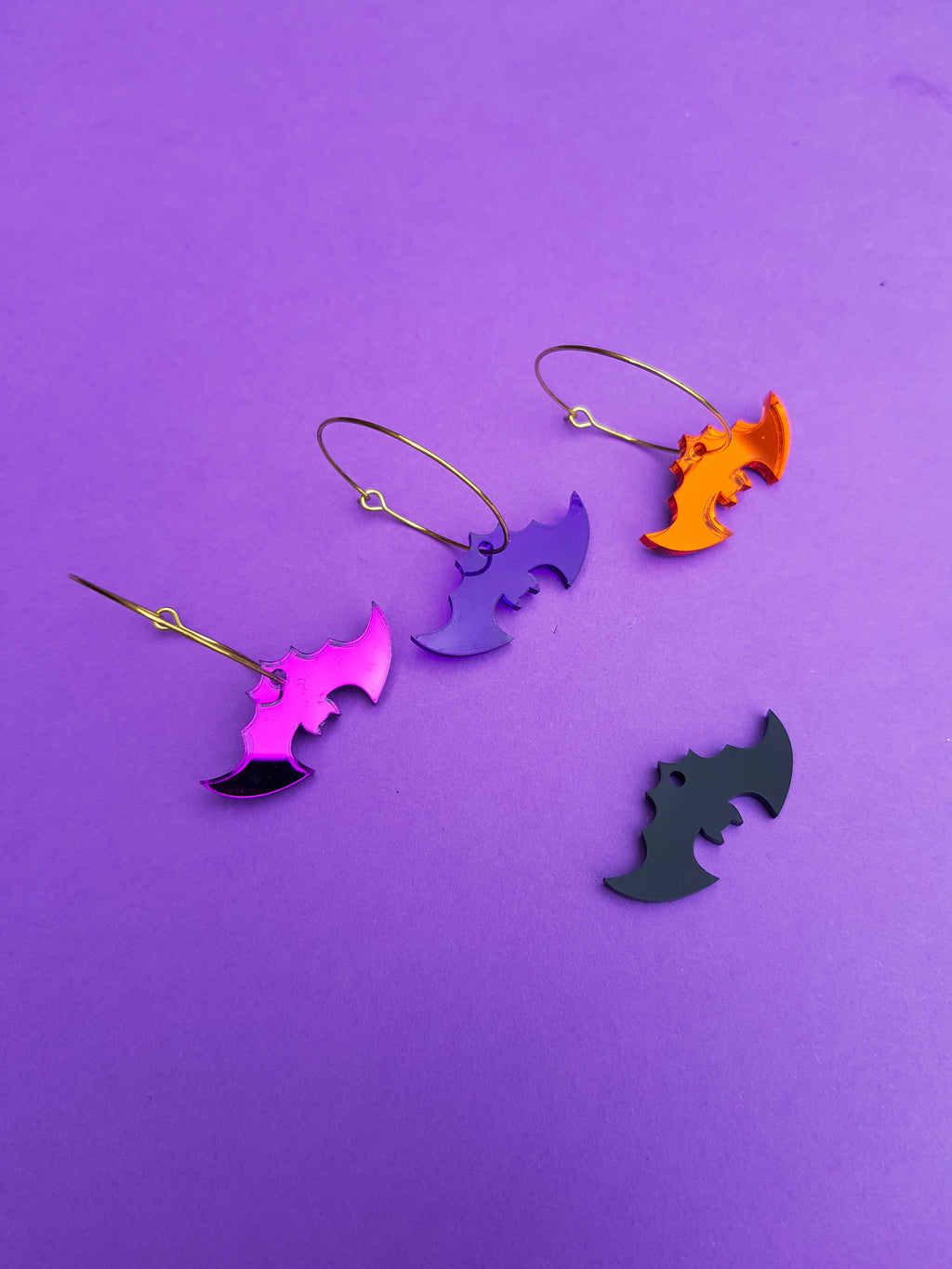 Mini bat hoop earrings