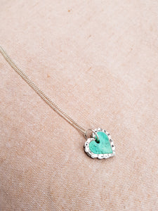 Heart Tiny Necklace (silver and green marble)