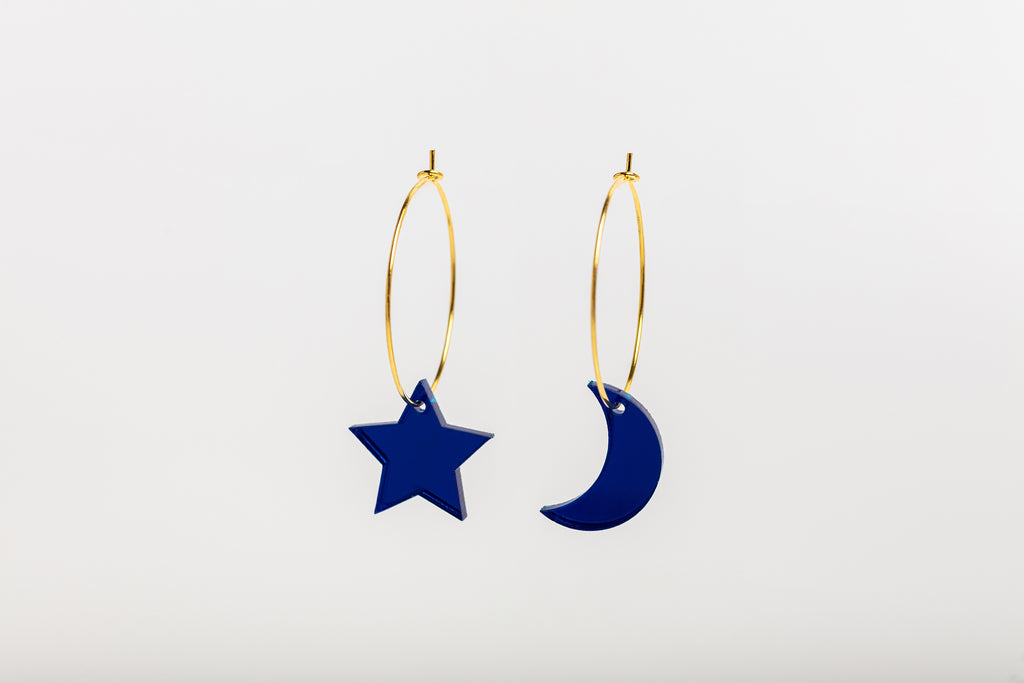 Mini Moon and Star hoop earrings