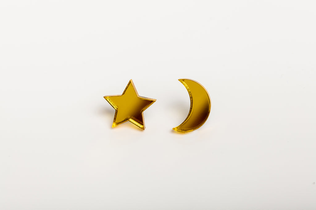 Mini Moon and Star stud earrings