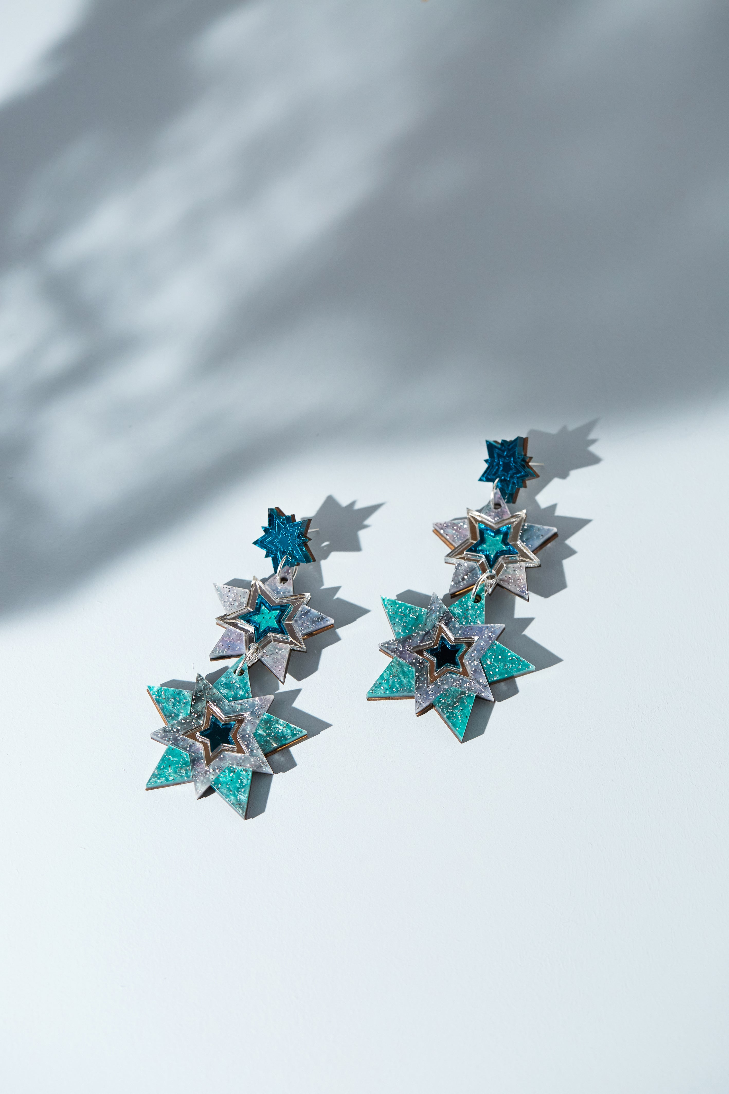 Triple Star Statement earrings (blue)