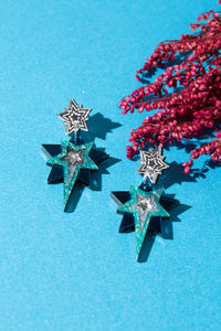 Stud Star Statement earrings (silver/teal)