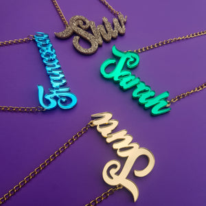 Fully customisable name necklace- gold or silver plated chain