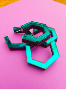 Teal hexagonal ply and perspex hoop earrings