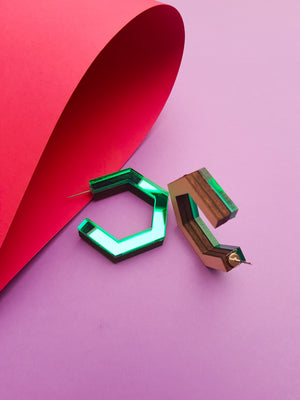 Green hexagonal ply and perspex hoop earrings