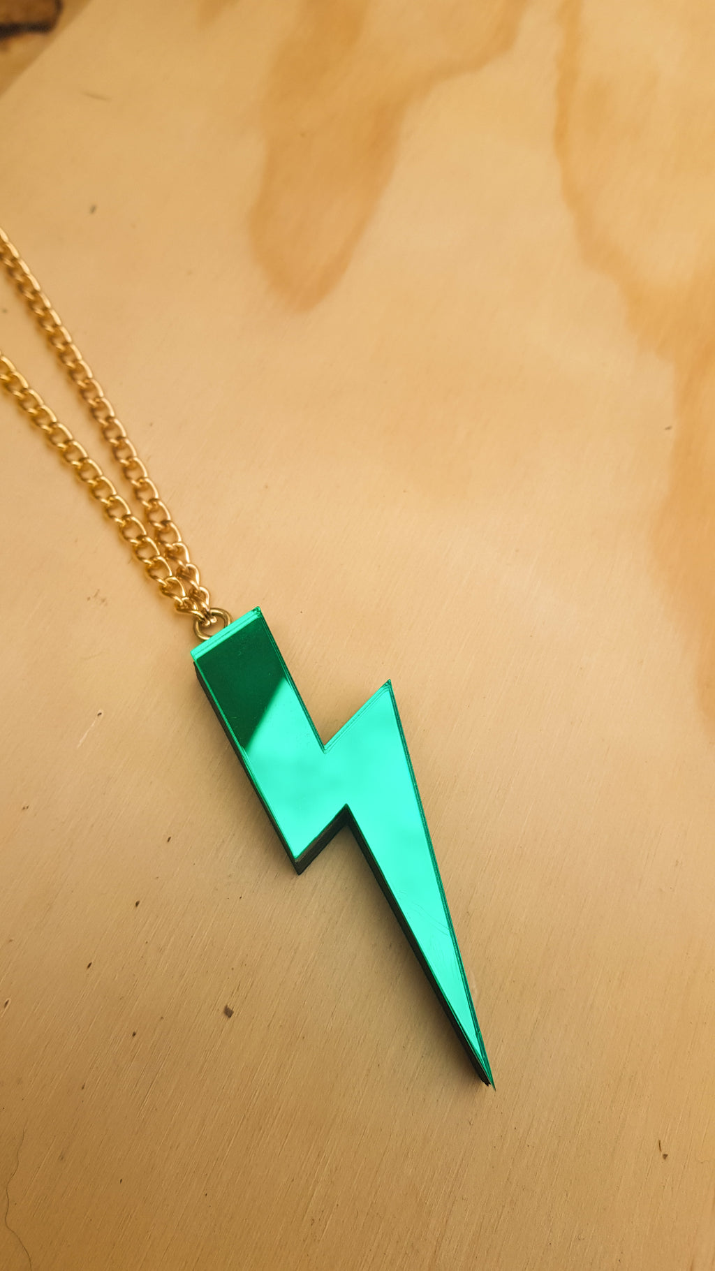 Statement lightning bolt necklace green
