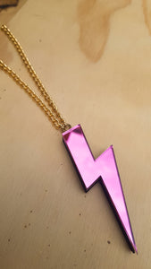 Statement lightning bolt necklace pink