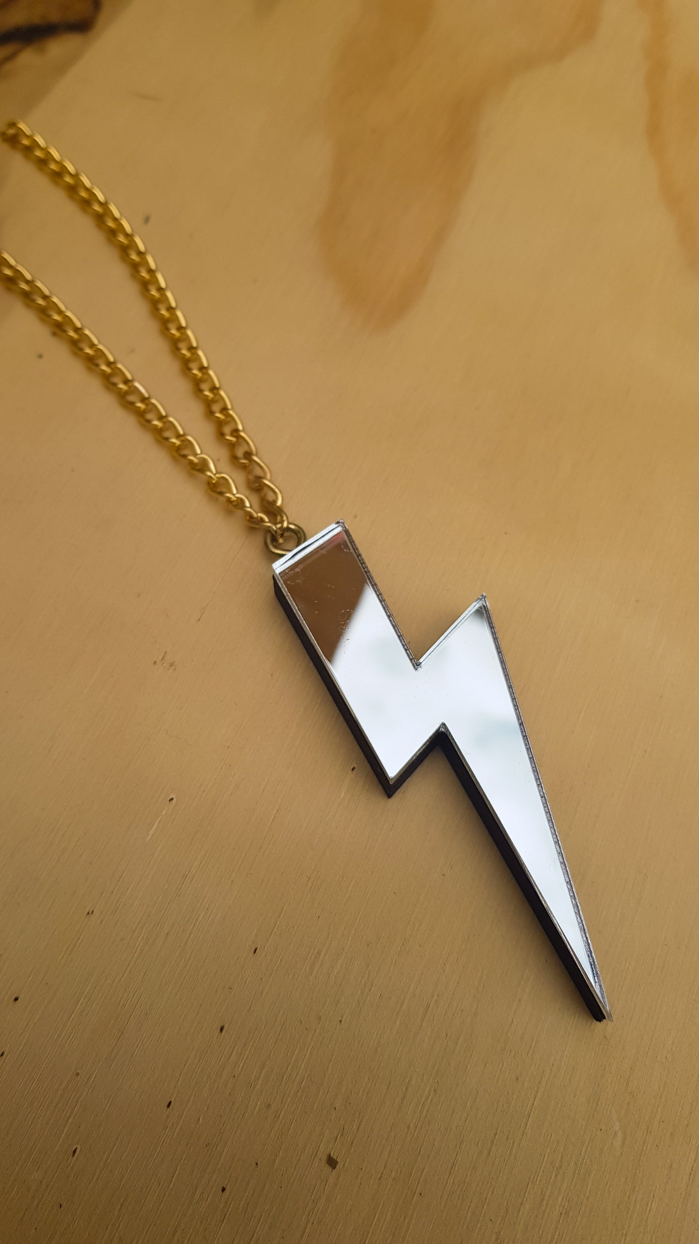 Statement lightning bolt necklace silver