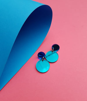 Round Drop Stud Earrings