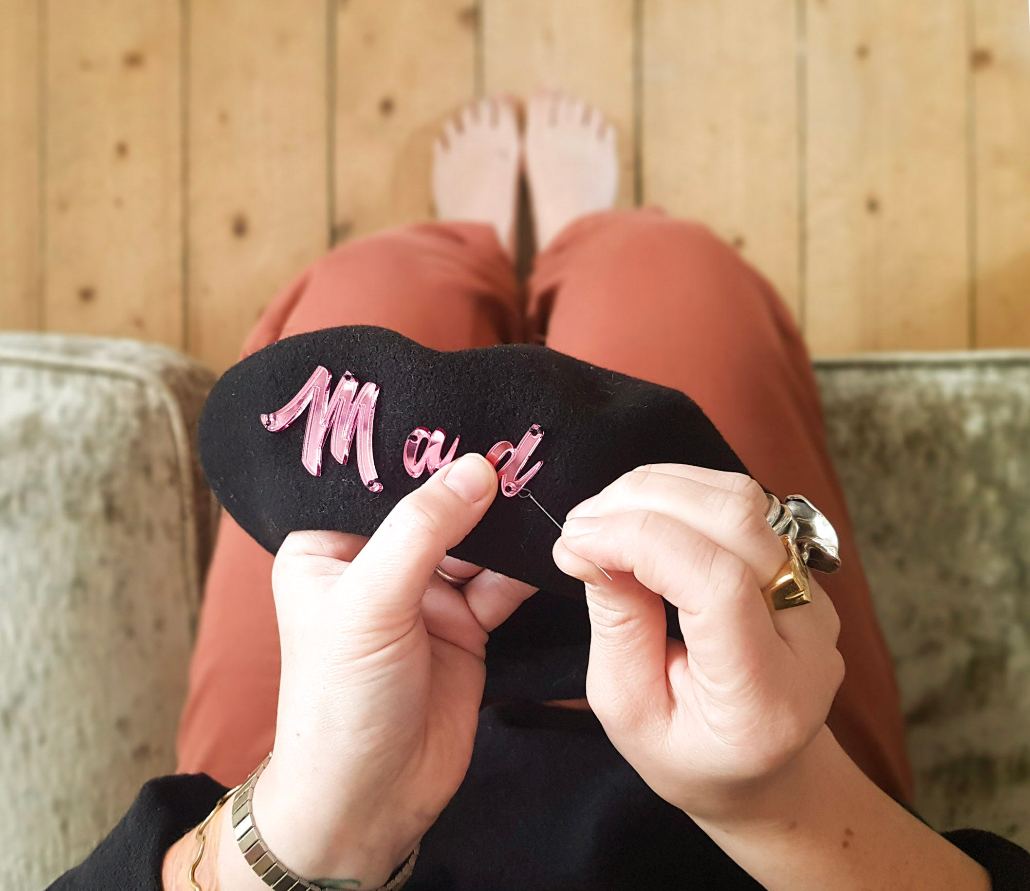 Custom wording black beret