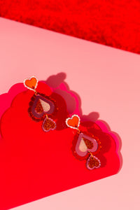 Heart Statement Earring (red)