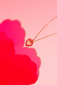 Heart Tiny Necklace (red & white marble)