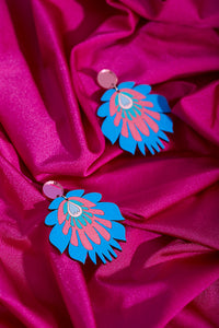 Light blue hand painted earrings