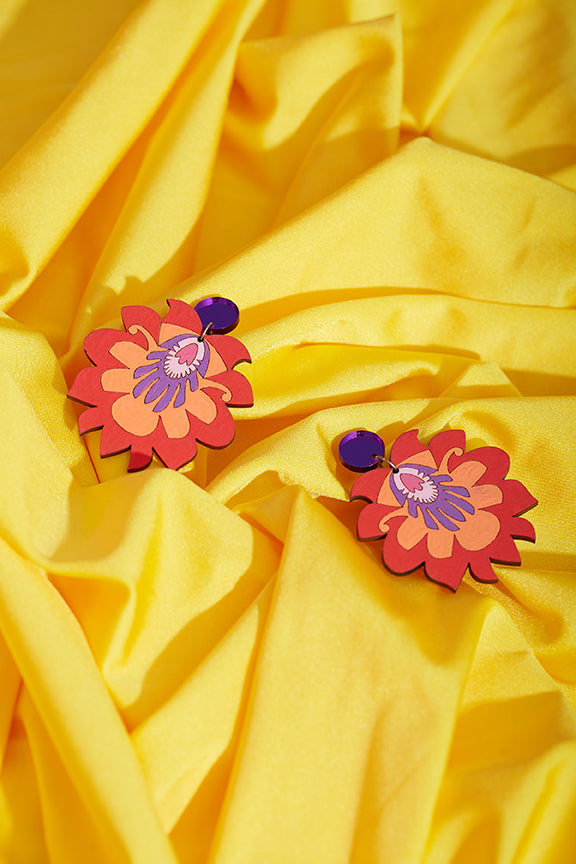 Red floral hand painted earrings
